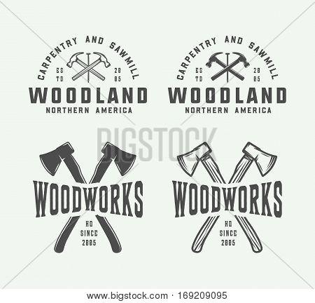 Set of vintage carpentry woodwork and mechanic labels badges emblems and logo. Vector illustration. Monochrome Graphic Art.