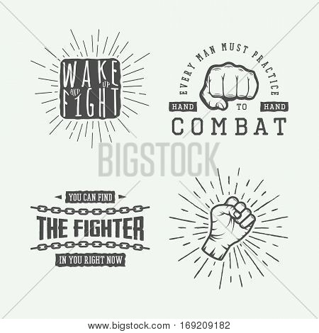 Set of vintage motivational and inspirational fighting posters in retro style. Monochrome graphic Art. Vector Illustration.