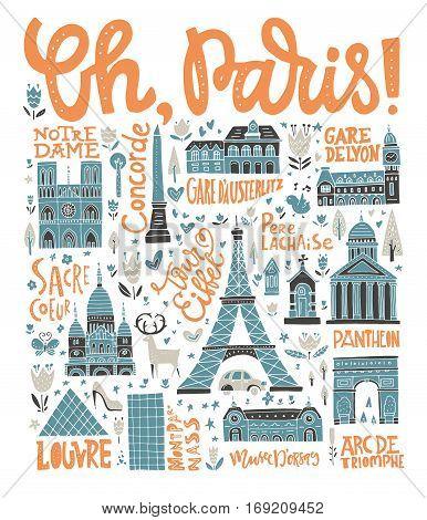 Handdrawn poster with symbols of France - vintage design handdrawn poster.