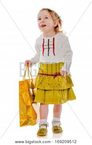 Girl Holding Presents Bag
