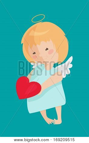 Cute angel isolated on white background. Vector illustration for cartoon holiday design. Child. Happy valentine day cupid. Red heart,  halo