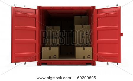 Open red cargo freight shipping container with cardboard boxes isolated on white. 3d illustration