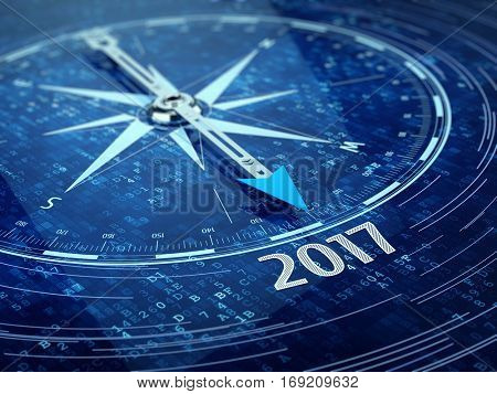 2017 year compass concept. 3d render