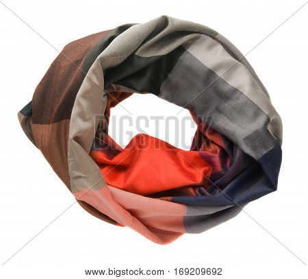 Scarf Isolated On White Background.scarf  Top View .colorful Scarf