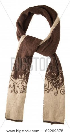 Scarf Isolated On White Background.scarf  Top View .brown Beige Scarf