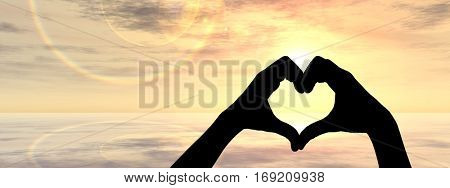 Concept conceptual heart shape 3D illustration symbol of human or woman and man hand silhouette over sky, sea at sunset background banner for love, valentine, romantic, couple, wedding summer romance