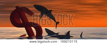 Conceptual 3D illustration bloody dollar symbol sign sinking in water or sea, with black sharks eating, metaphor concept for crisis in US banner, financial, crash, danger, business or currency designs