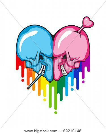 Human Skull heart shape with rainbow paint flow. Vector illustration