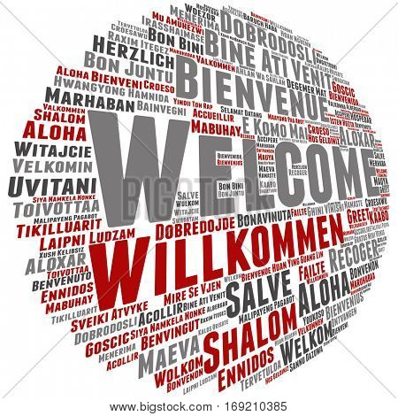 Concept or conceptual abstract welcome or greeting international word cloud in different languages or multilingual isolated metaphor to world, foreign, worldwide, travel, translate, vacation tourism