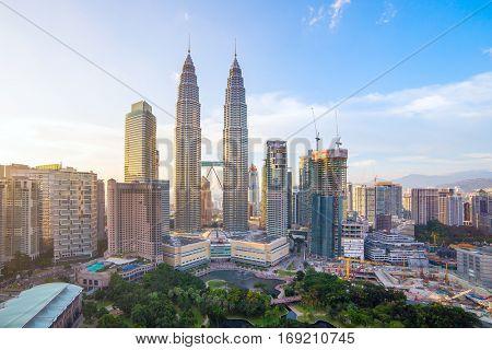 Kuala Lumpur, Malaysia - September 23, 2016: Petronas towers and Kuala Lumpur city skyline, Malaysia
