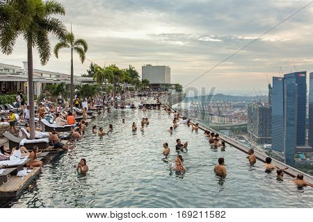 Singapore - June 26, 2016 : Swimming pool of the Marina Bay Sands hotel in Singapore.
