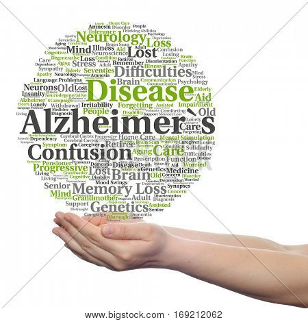 Concept conceptual Alzheimer`s disease symptoms abstract word cloud held in hands isolated on background metaphor to care loss, caregiving aging resistance neurology old, language, motor or resistance