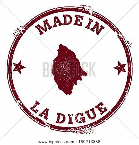 La Digue Seal. Vintage Island Map Sticker. Grunge Rubber Stamp With Made In Text And Map Outline, Ve