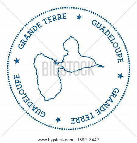 Grande-terre Map Sticker. Hipster And Retro Style Badge. Minimalistic Insignia With Round Dots Borde