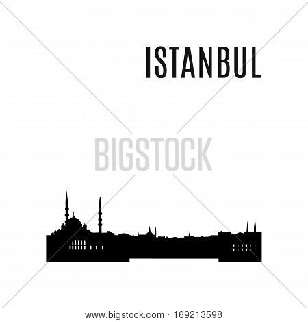 Istanbul City skyline black silhouette. Istanbul landscape. View of Istanbul downtown cityscape and Sultanahmet mosque in Istanbul, Turkey. Istanbul panorama. Landmark vector illustration