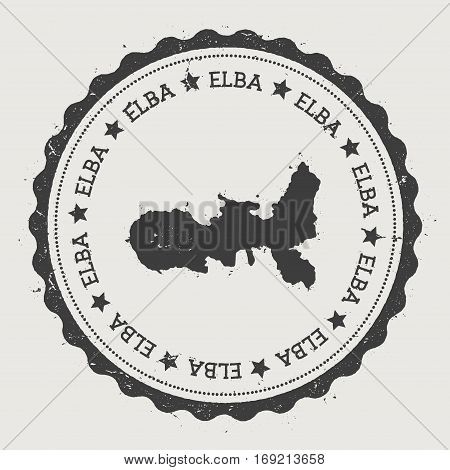 Elba Sticker. Hipster Round Rubber Stamp With Island Map. Vintage Passport Sign With Circular Text A