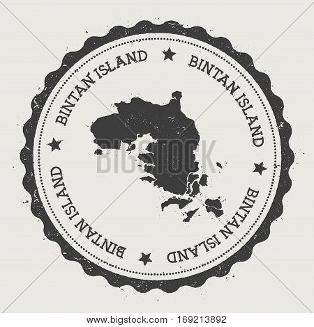 Bintan Island Sticker. Hipster Round Rubber Stamp With Island Map. Vintage Passport Sign With Circul