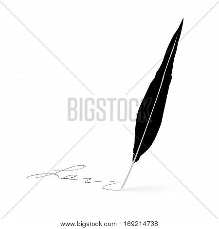 Pen icon. feather pen signature writer concept