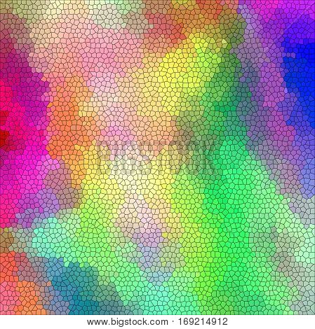 Abstract coloring background of the pastel rainbow gradient with visual cubism and stained glass effects