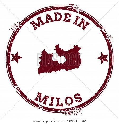 Milos Seal. Vintage Island Map Sticker. Grunge Rubber Stamp With Made In Text And Map Outline, Vecto