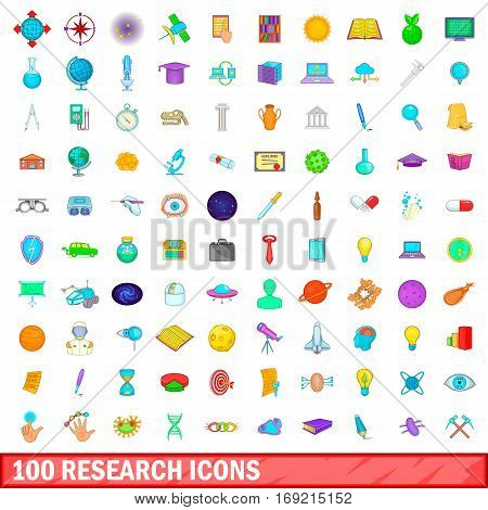 100 research icons set in cartoon style for any design vector illustration