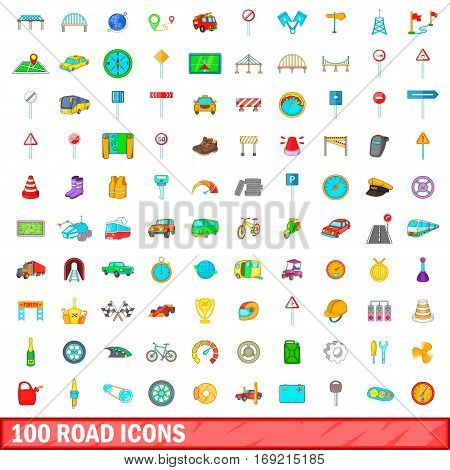 100 road icons set in cartoon style for any design vector illustration