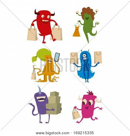 Cartoon cute monster shopping vector character illustration. Business buying consumerism funny happy mascot. Alien devil creature colorful ugly toy.