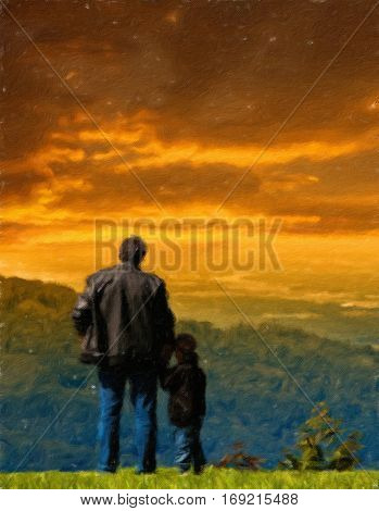 Father and son looked into the distance from the cliff.  Oil painting effect