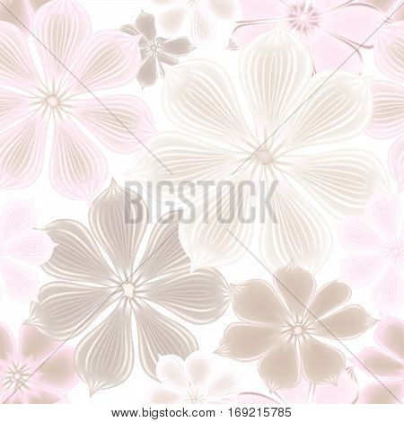 Flower clouse up seamless background. Floral seamless texture with flowers. Gentle spring garden pattern