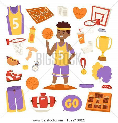 Basketball player and stickers icons labels set vector. Sport league graphic game competition basketball stickers icons. Championship winner streetball equipment emblem.