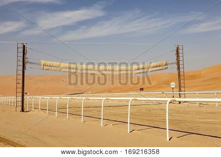 Camel racing track at the Moreeb Dune in Abu Dhabi.United Arab Emirates Middle East