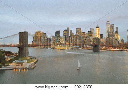 Manhattan skyline with Brooklyn Bridge at evening - oil paint style image.