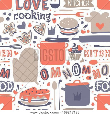 Cooking seamless pattern retro style with kitchen and baking items vector illustration. Decorative chef kitchenware graphic household background.