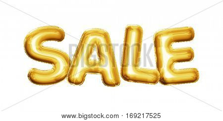 Balloon Gold Sale text letters. Realistic 3D isolated gold helium balloon golden font. Shopping discount decoration element design on white background