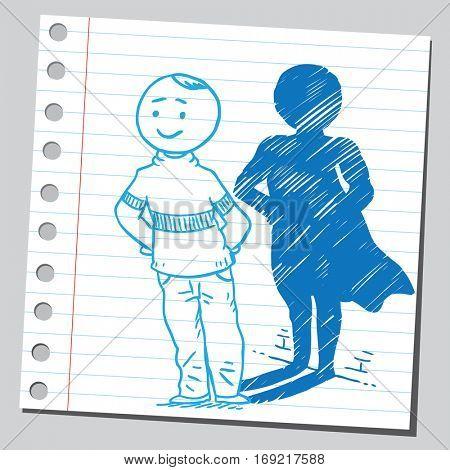 Casual man with superhero shadow