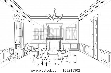 Home interior view with furniture: sofa, armchair, table. Luxury living room drawing retro design. Engraves hand drawn  line art