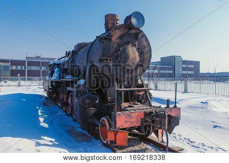 Steam locomotive in the museum in the open vozduzhe Russian winter