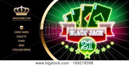 Vector golden vip ticket for night casino event with blackjack