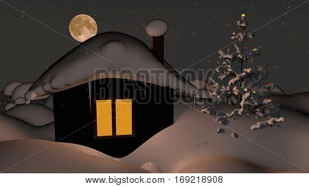 Fairy tale house in the winter, covered with snow. Snowflakes falling and big moon in the night sky. 3D rendering.
