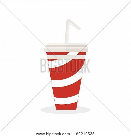 Soft drink with a straw to drink. Delicious cold sparkling water. Fast food. Vector, illustration isolated on white background EPS10