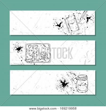 Art and calligraphy. Set of white paper banner templates horizontal business banner. Vector banner corporate identity website banner design. Hand drawn layout background. Vector illustration