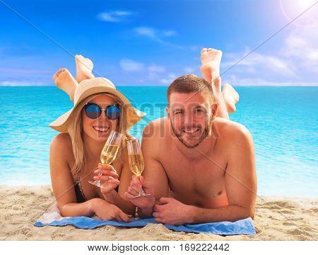 Luxury beach couple vacation.