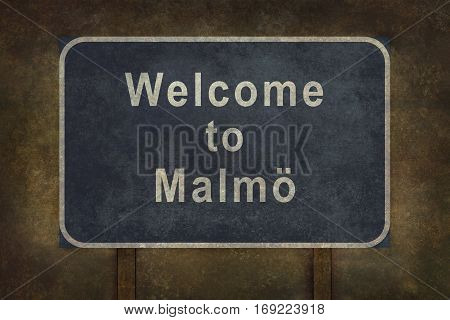 Distressed welcome to Malmo road sign illustration with ominous background