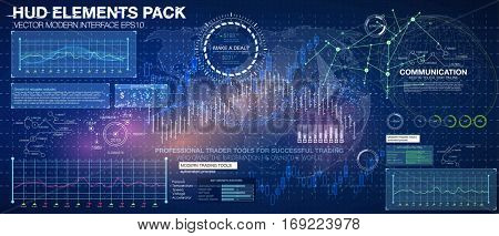 Set graphs and charts. Statistic and data, information infographic. HUD background outer space. infographic elements. futuristic user interface. Business abstract background