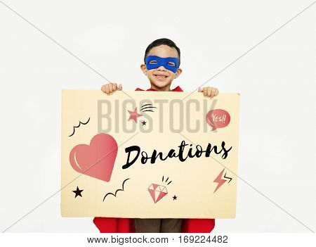 Charity Donation Heart Graphic Concept