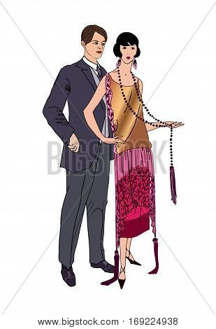 Couple on party. Man and woman in vintage style 1920's. Portrait of an attractive flapper girl with her boyfriend. Retro fashion  illustration isolated on white background.