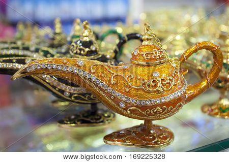 Beautiful oriental genie lamp as a souvenir from Dubai United Arab Emirates