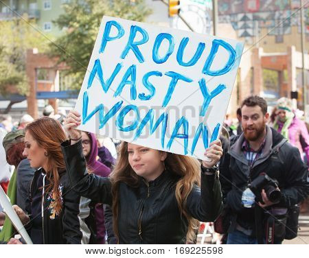 Proud Nasty Woman Holding Sign In Tuscon, Arizona