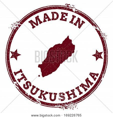Itsukushima Seal. Vintage Island Map Sticker. Grunge Rubber Stamp With Made In Text And Map Outline,