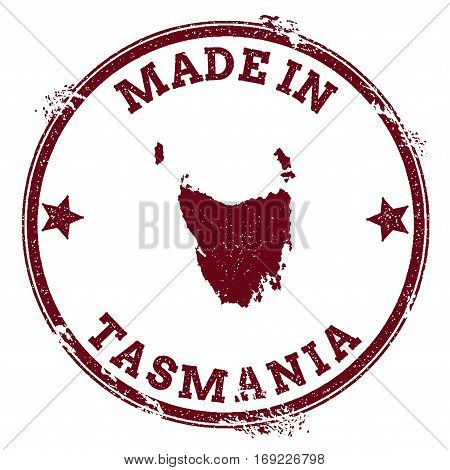Tasmania Seal. Vintage Island Map Sticker. Grunge Rubber Stamp With Made In Text And Map Outline, Ve